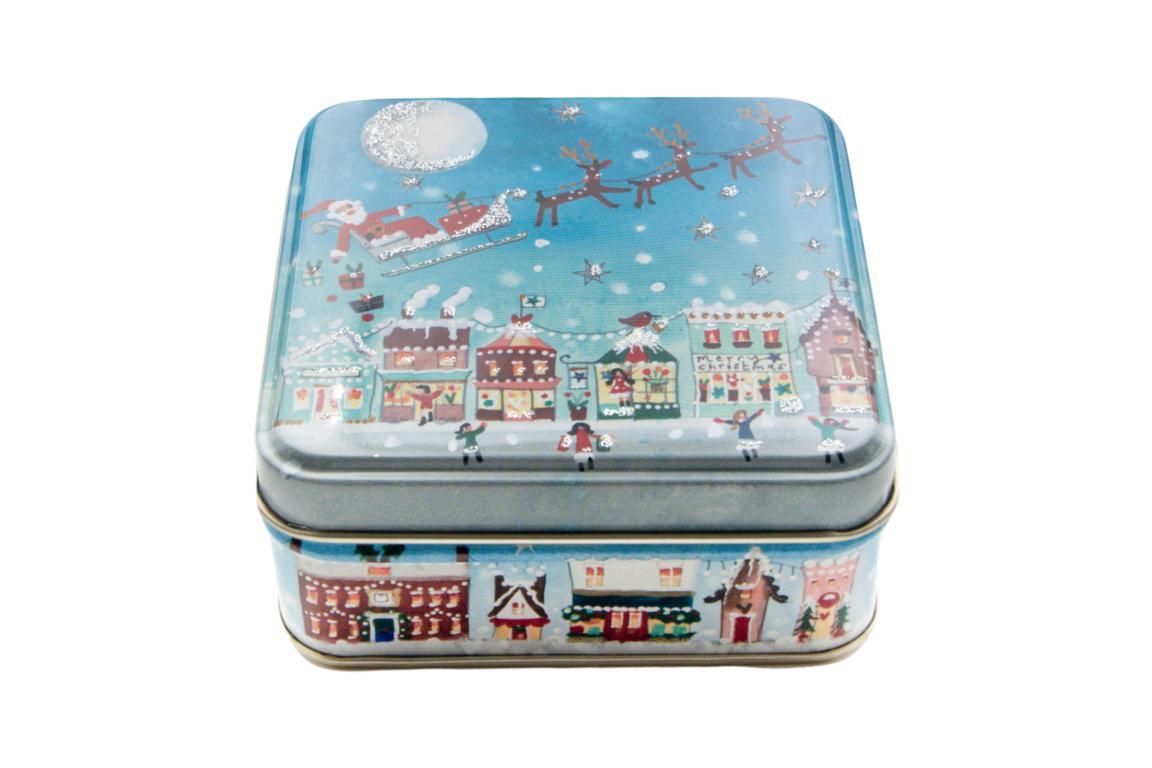 Lucy Loveheart kleine Blechdose, Motiv Weihnachtsmann im Rentierschlitten fliegt über Stadt, mit Glitzerverzierung, 9x9x3,5 cm