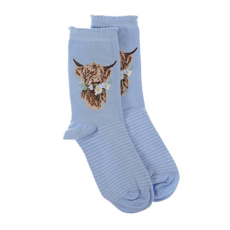 """Wrendale Socken """"Daisy Coo"""", Motiv Hochlandrind, hellblau mit weißen Streifen, aus Super Soft Bambus, Einheitsgröße, mit Geschenktasche"""
