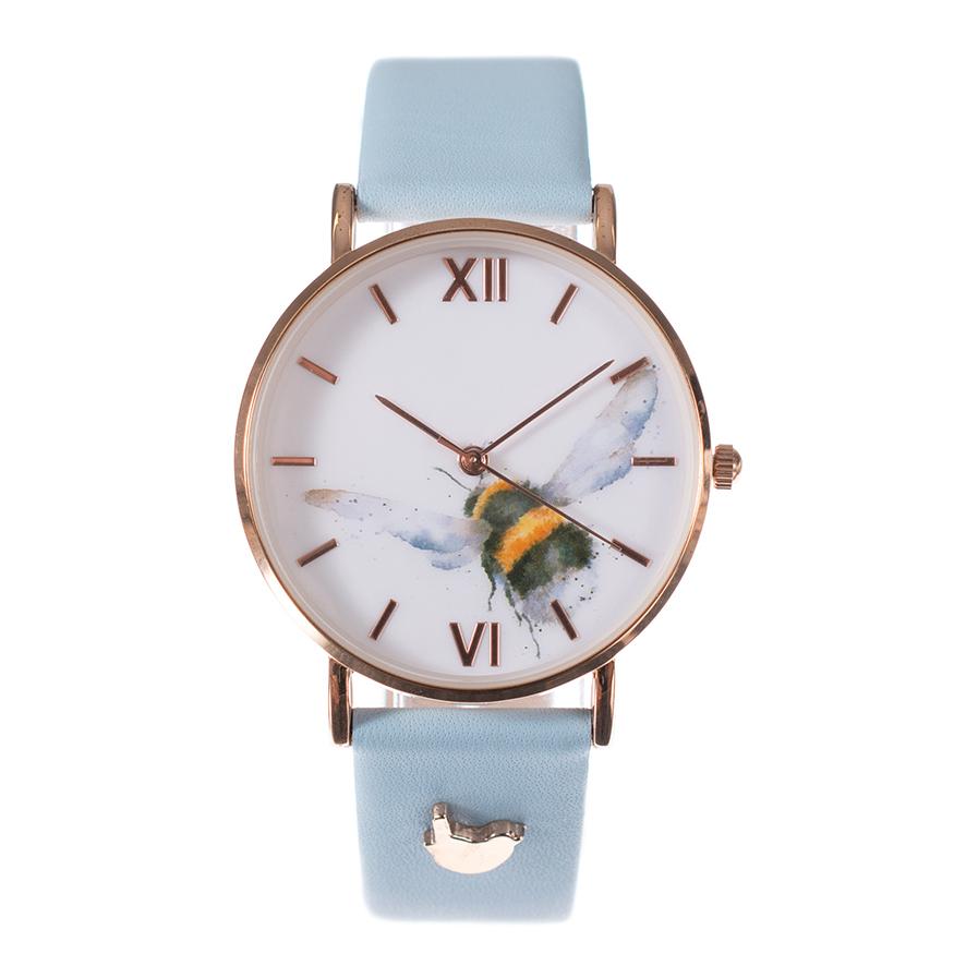 Wrendale Armbanduhr mit blauem Lederarmband, Motiv fliegende Hummel, in Geschenkkarton