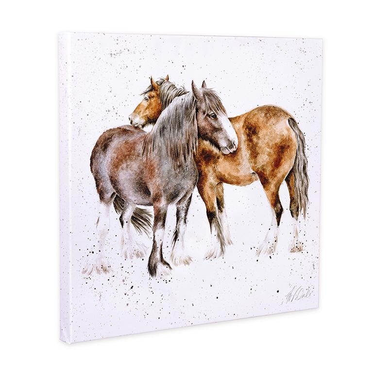 """Wrendale Leinwand groß, Aufdruck zwei Ponys, """"Side by Side"""", 80x80 cm"""