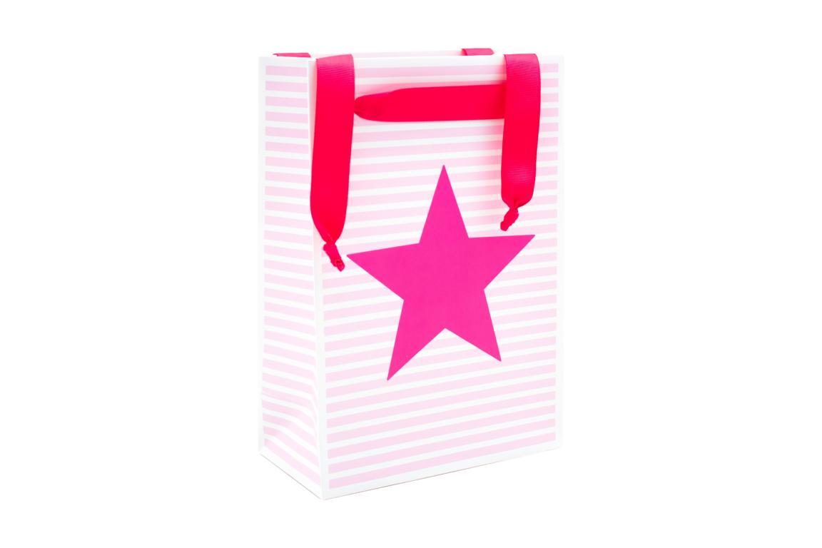 Geschenktüte, weiß rosa gestreift mit pinkem Stern, H 20x B 16 cm