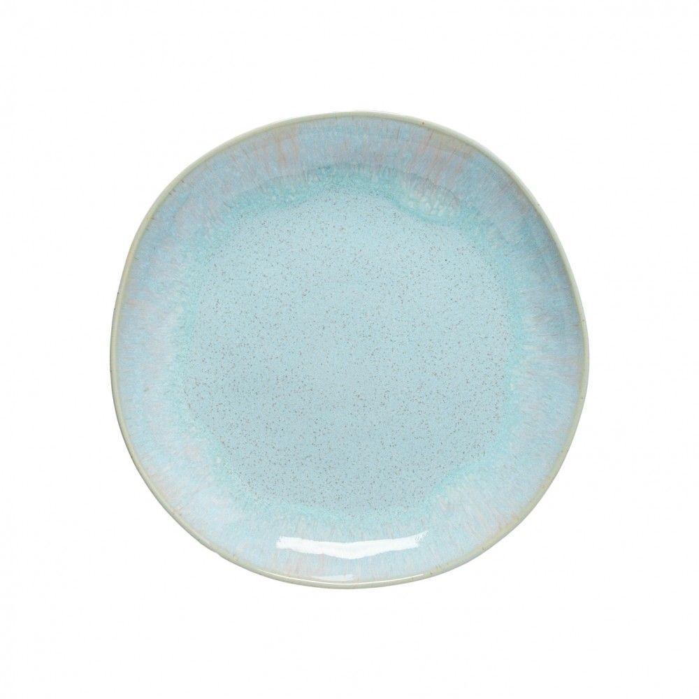 Casafina Eivissa Kuchenteller/Dessertteller/Salatteller, innen meerblau, außen beige, gesprenkelt, D 22cm
