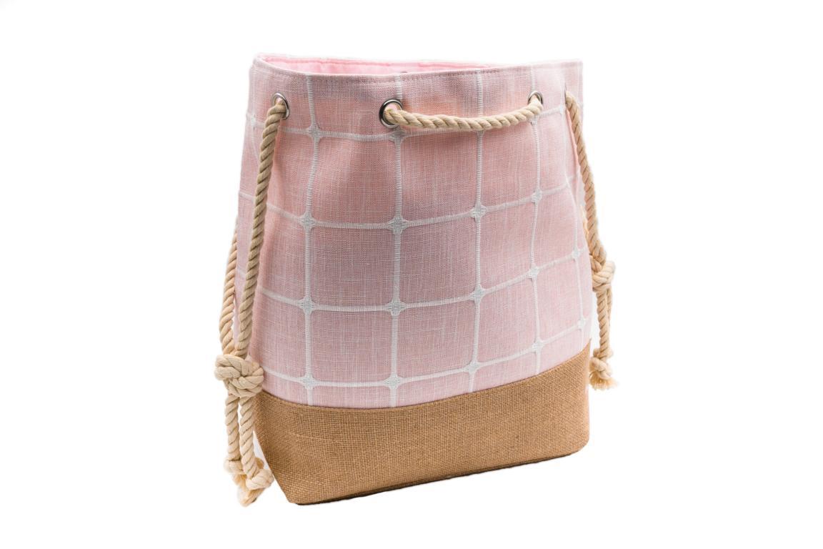 Strandtasche/Shopper, aus Stoff, Kordel Tragegriff, natur/rosa, ca. 55x38x15cm