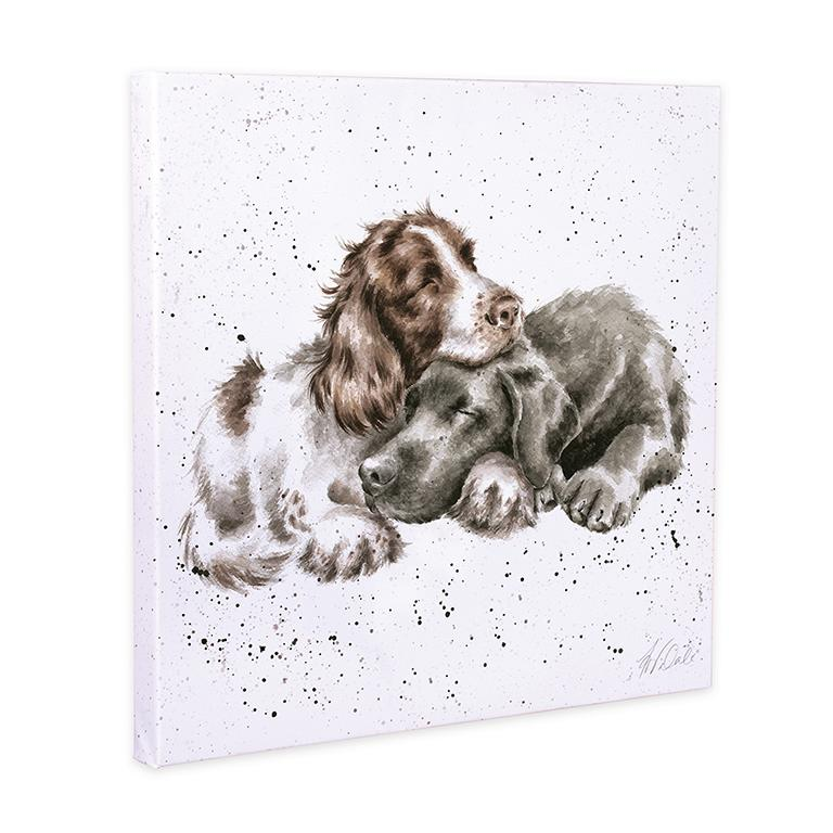 "Wrendale Leinwand groß, Aufdruck kuschelnde Hunde, ""Growing old togehther"", 80x80 cm"