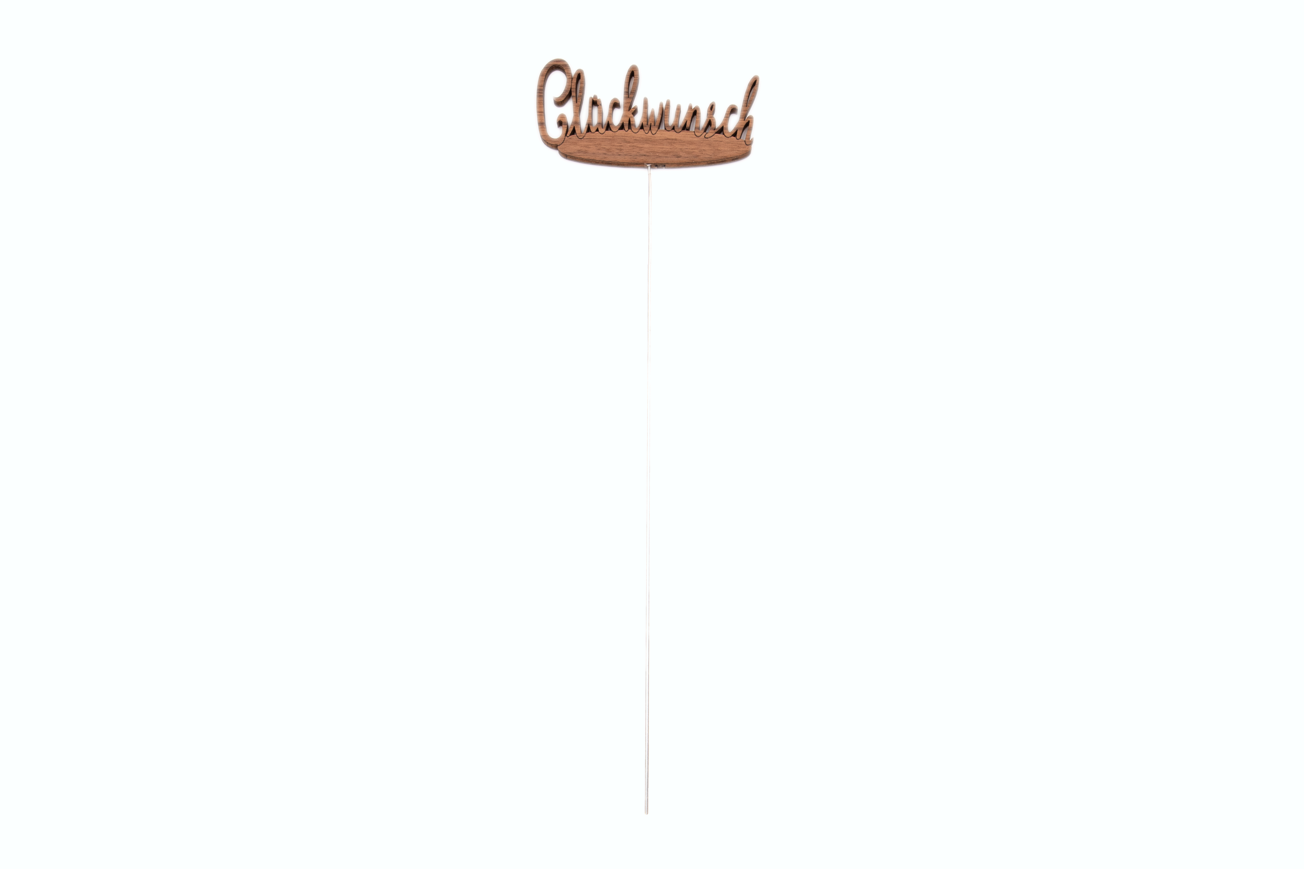 "Pflanzenstecker/Blumenstecker Schriftzug ""Glückwunsch"" aus Holz, 43x12,5 cm"