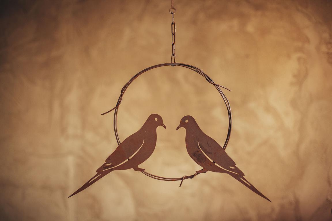 Vogelpärchen im Ring, Edelrost, Rost, 35x51 cm