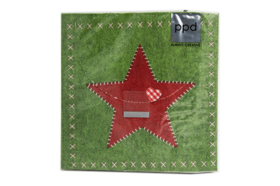 Servietten Felt Star grün 33 x 33 cm