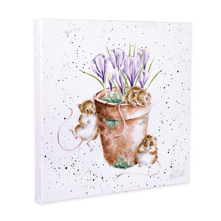 """Wrendale Leinwand groß, Aufdruck zwei Mäuse im Blumentopf, """"Garden Friends"""", 80x80 cm"""