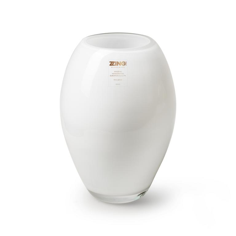 Vase, große Öffnung , Glas, weiß, Handgefertigt, 23x11cm