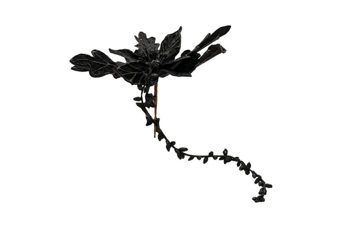 Colmore Blüte mit Glitzer, künstlich, schwarz, mit 2 längeren Zweigen, 28x20x20cm