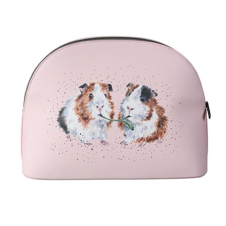 """Wrendale Kosmetiktasche groß, Motiv zwei Meerschweinchen """"Lettuce by Friends"""", mit Reißverschluss, rosa,  24,5x33cm"""