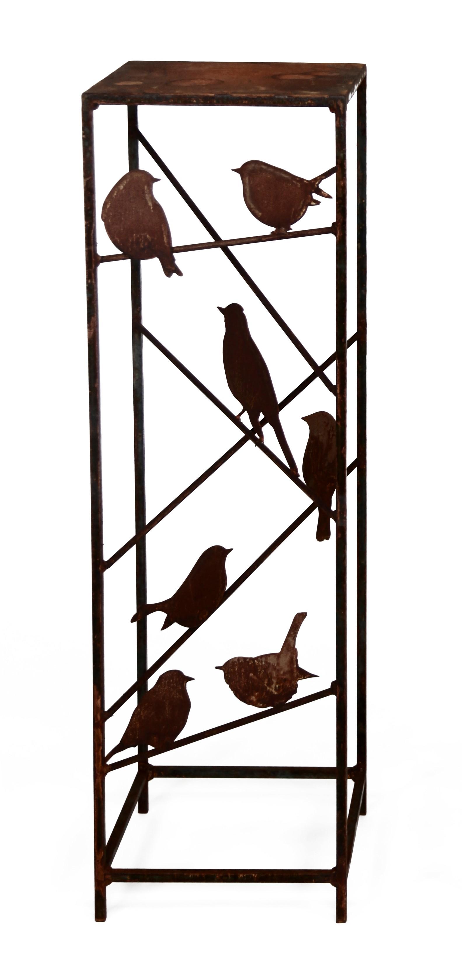 Säule aus Vierkantstahl mit 7 Vögeln auf Stäben, Edelrost, H100cm, Gf 30 x 30