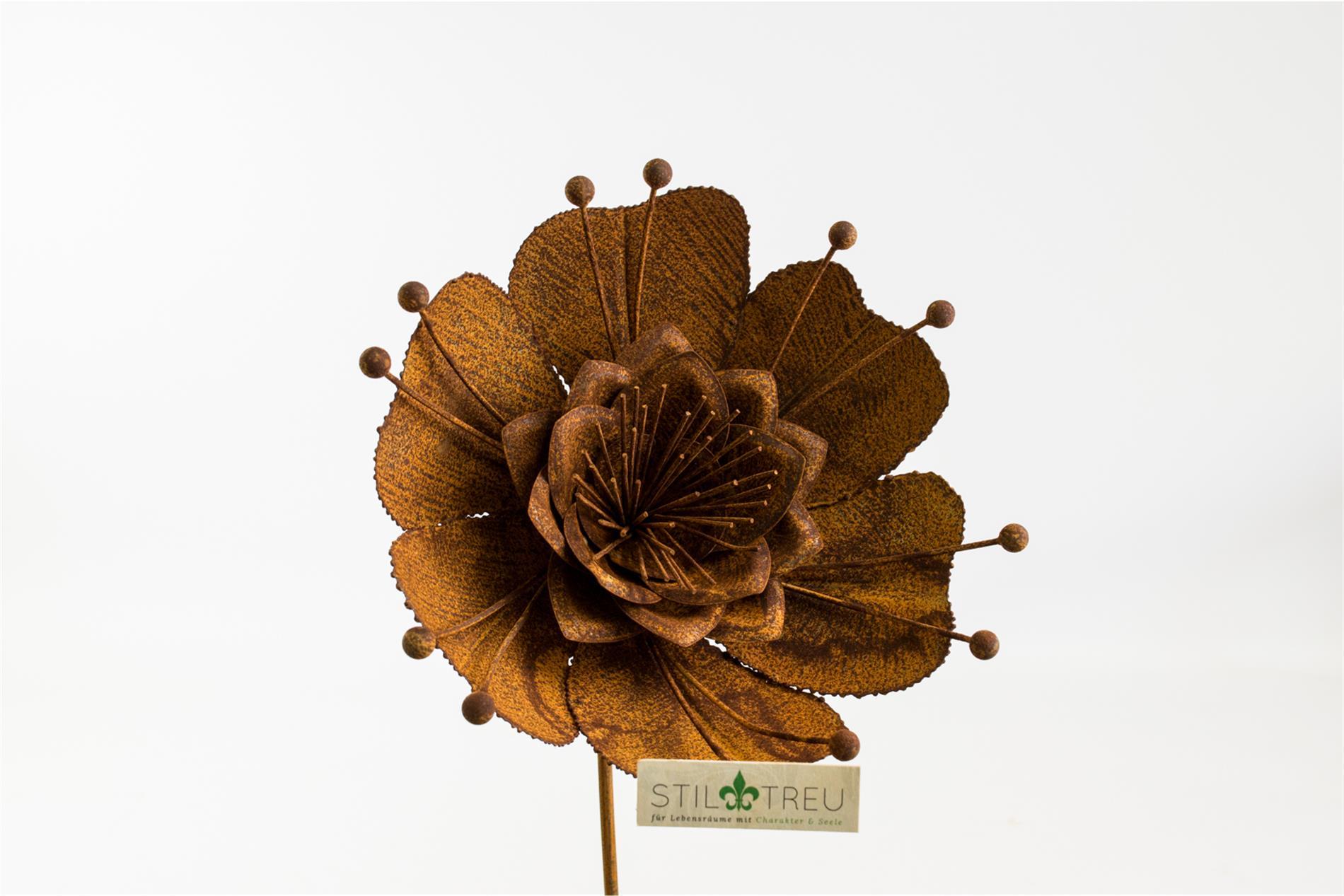 Blumenstecker Seerose, Edelrost,  Rost Deko, Ø28 cm H20 cm