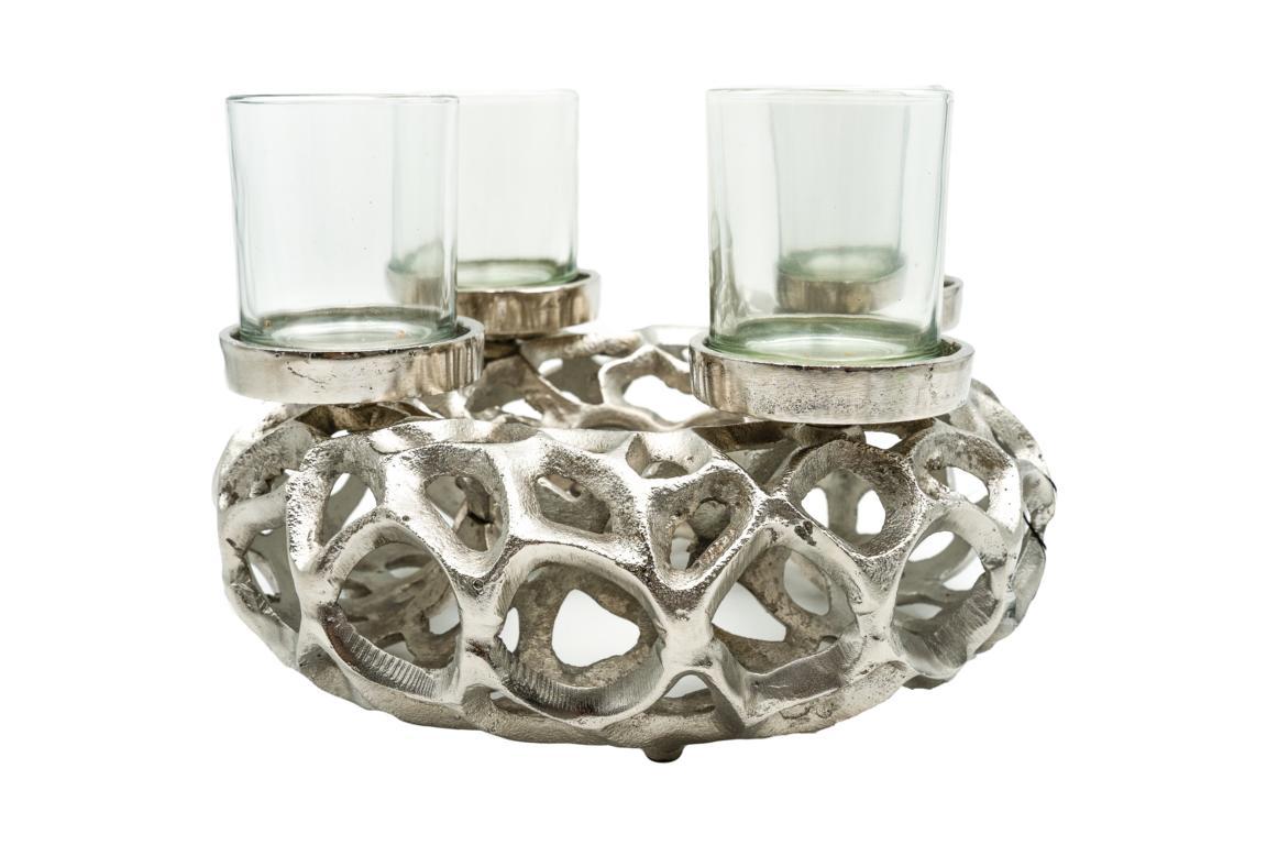 Colmore Kerzenleuchterkranz/Adventskranz, mit 4 Teelichtgläser, silber/Aluminium, Antike Optik, 30x20cm