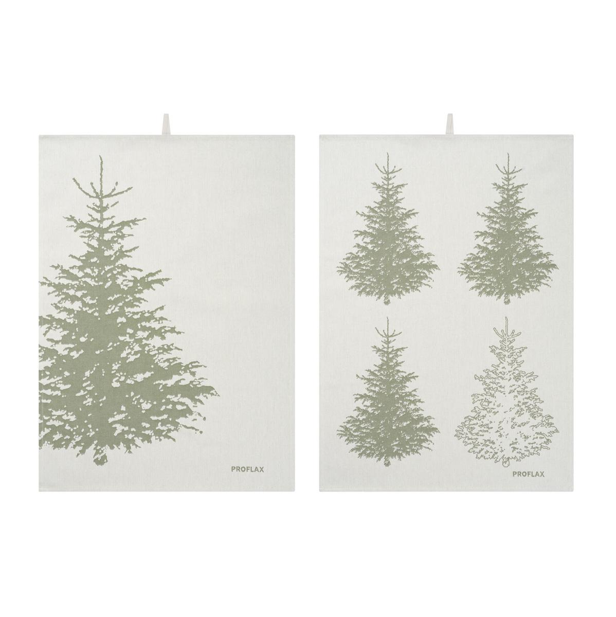 PROFLAX Geschirrtuch 2er Set, Motiv Tannenbaum in Reihe und Tannenbaum groß, olive, 50 x 70