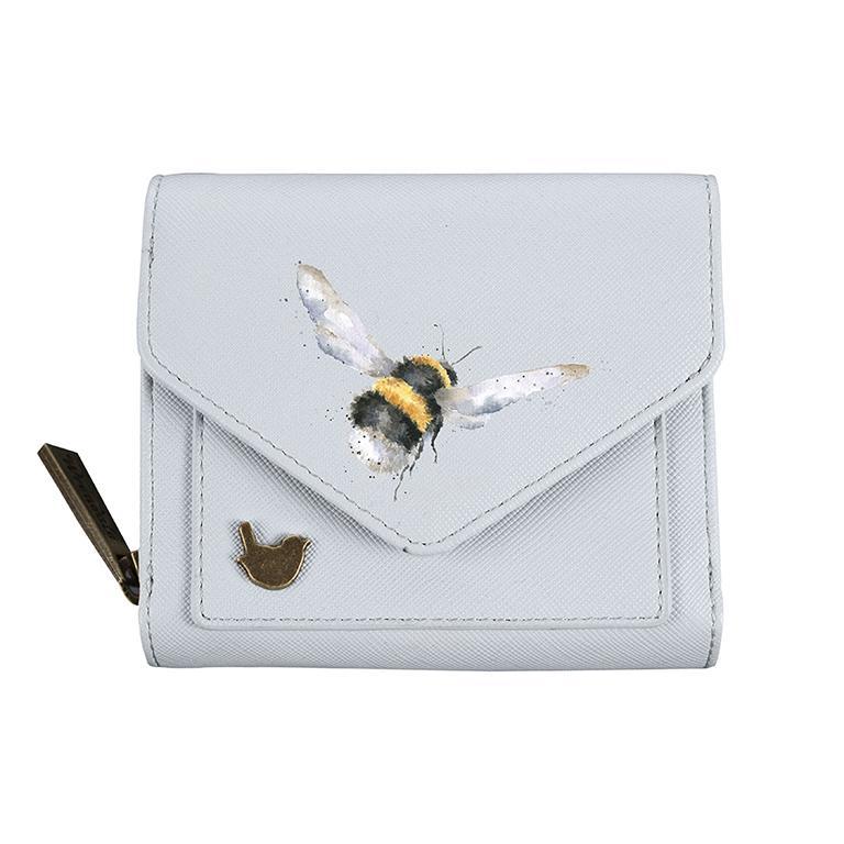 Wrendale Geldbörse klein, mit Druckknopf und Reißverschluss, Motiv Hummel, hell blau, 11x9x3cm