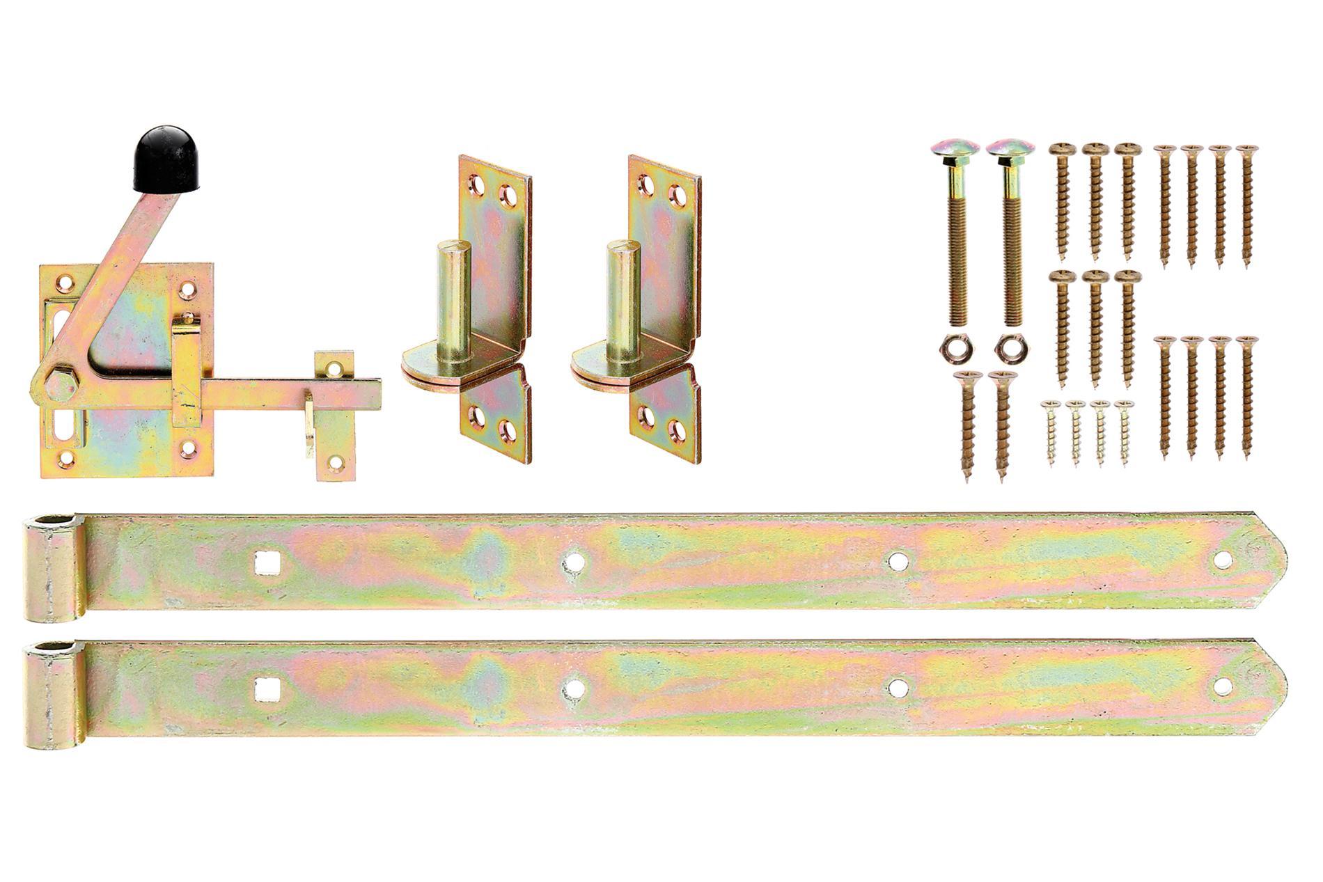 Beschlagset gelb-verzinkt, für genagelte Tore und Premium Tore - Bänder, Kloben, Verriegelung, Schrauben