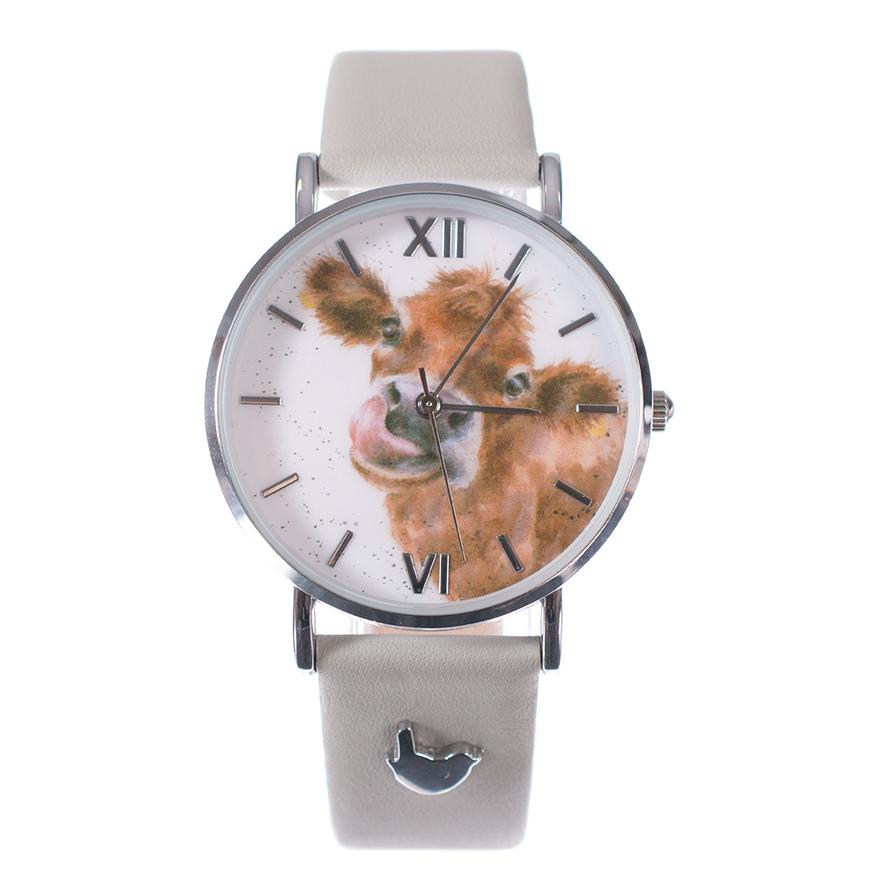 Wrendale Armbanduhr mit grauem Lederarmband, Motiv Kuh leckt sich die Nase, in Geschenkkarton