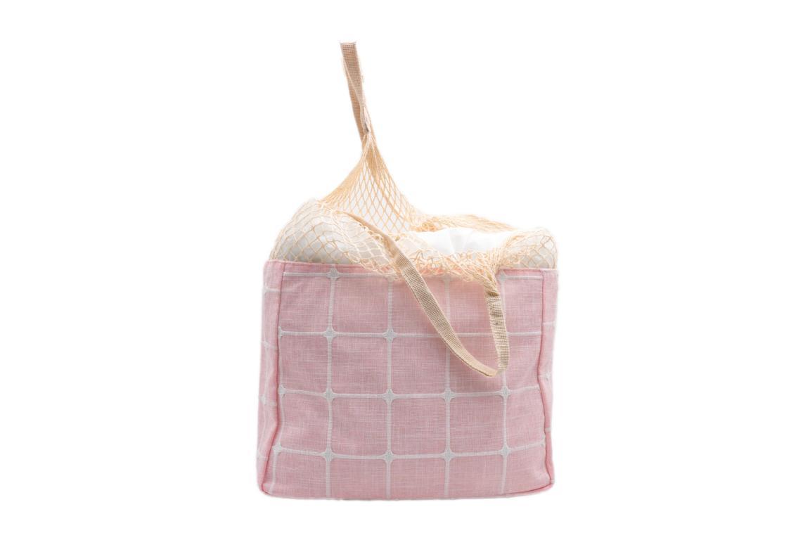 Beuteltasche/Strandbeutel, aus Stoff, obere Hälfte Netz, natur/rosa, 40x30cm