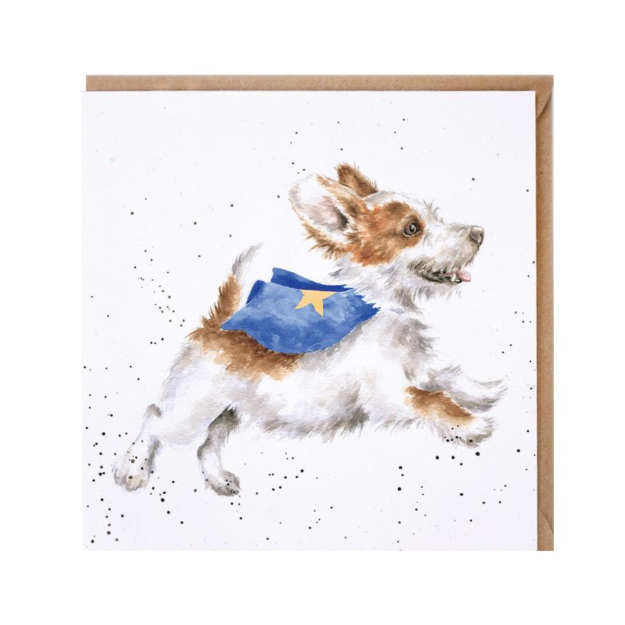 Wrendale Doppelkarte mit Umschlag, Motiv Hund als Superheld, 15x15 cm