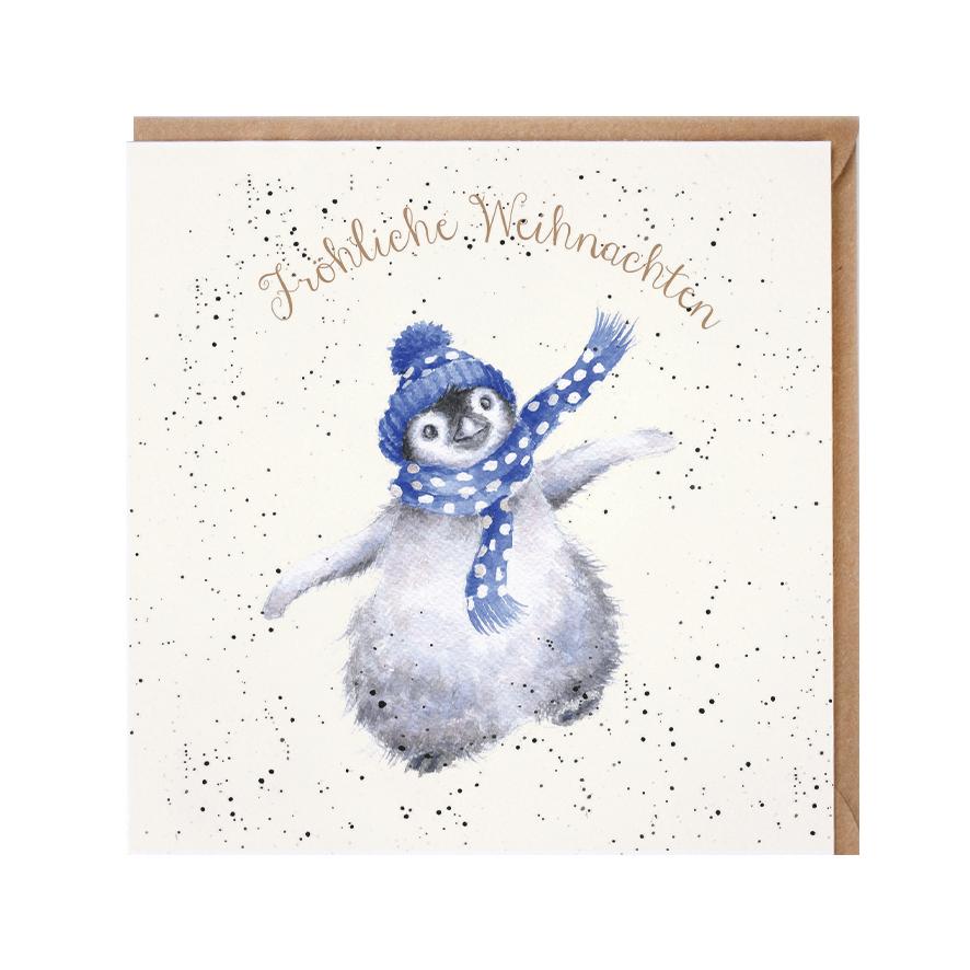 Wrendale Doppelkarte Weihnachten mit Umschlag, Fröhliche Weihnachten, Motiv Pinguin mit Schal und Mütze, 15x15 cm