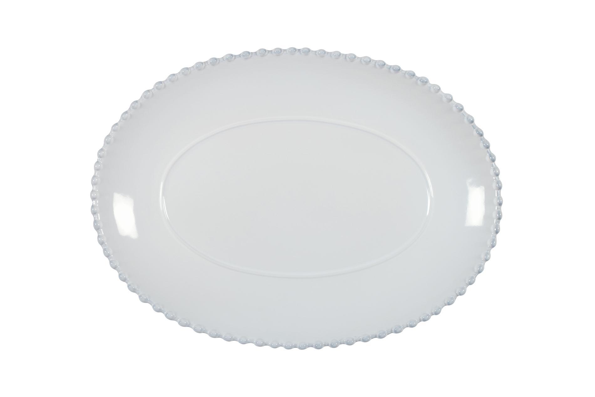 Servierplatte oval Pearl weiß, 33 cm