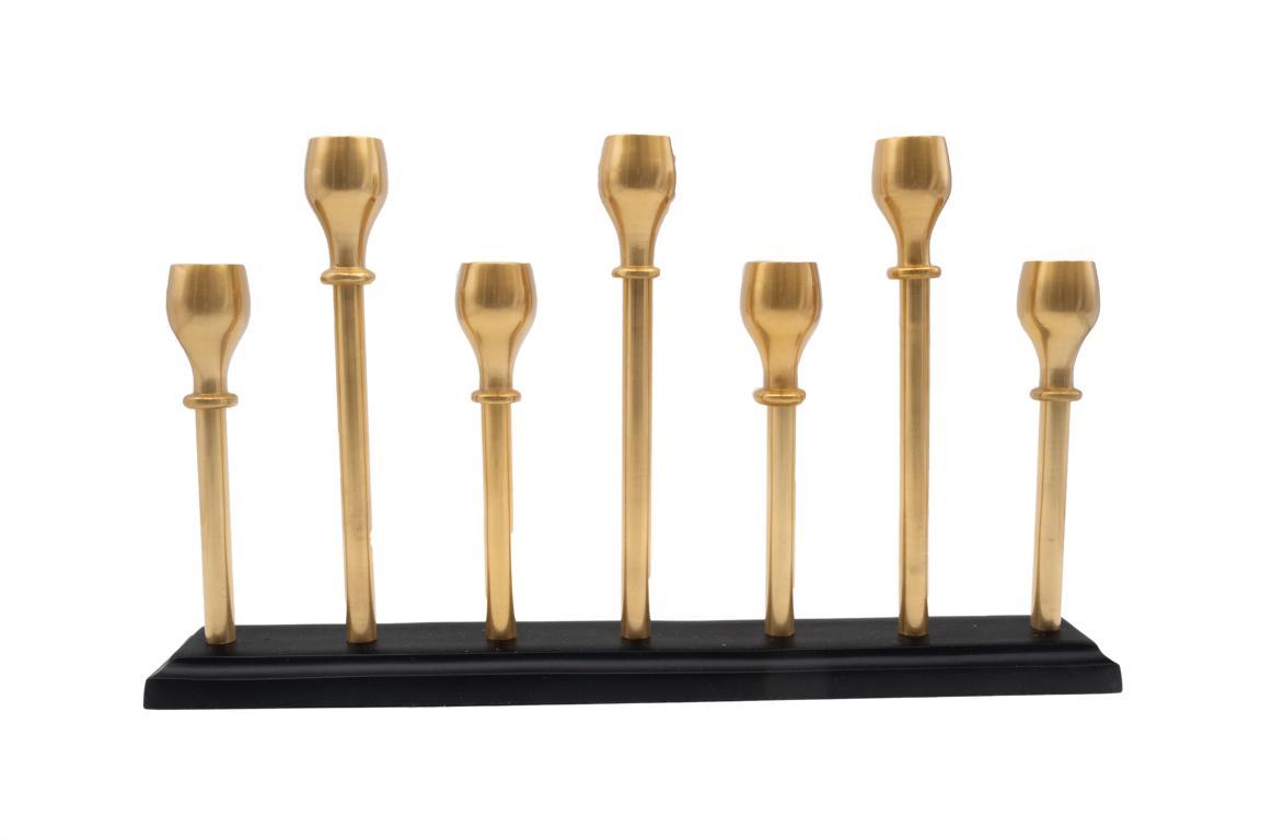 Colmore Kerzenständer, rechteckig, für 7 Stabkerzen,auf schwarzem Fuß, Kerzenhalter bronze, 39x6x23cm