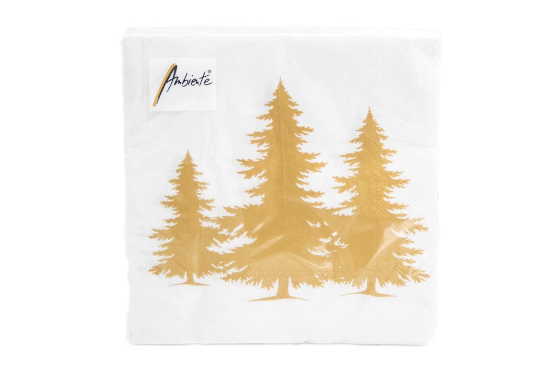 Servietten Tree Silhouette weiß/ gold, Motiv Tannenbäume gold, 33 x 33 cm