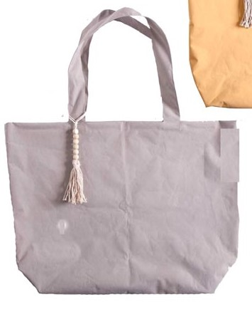 Strandtasche/Schoppingtasche XXL, Kunststoff in Textiloptik, Farbe grau, 40x65 cm