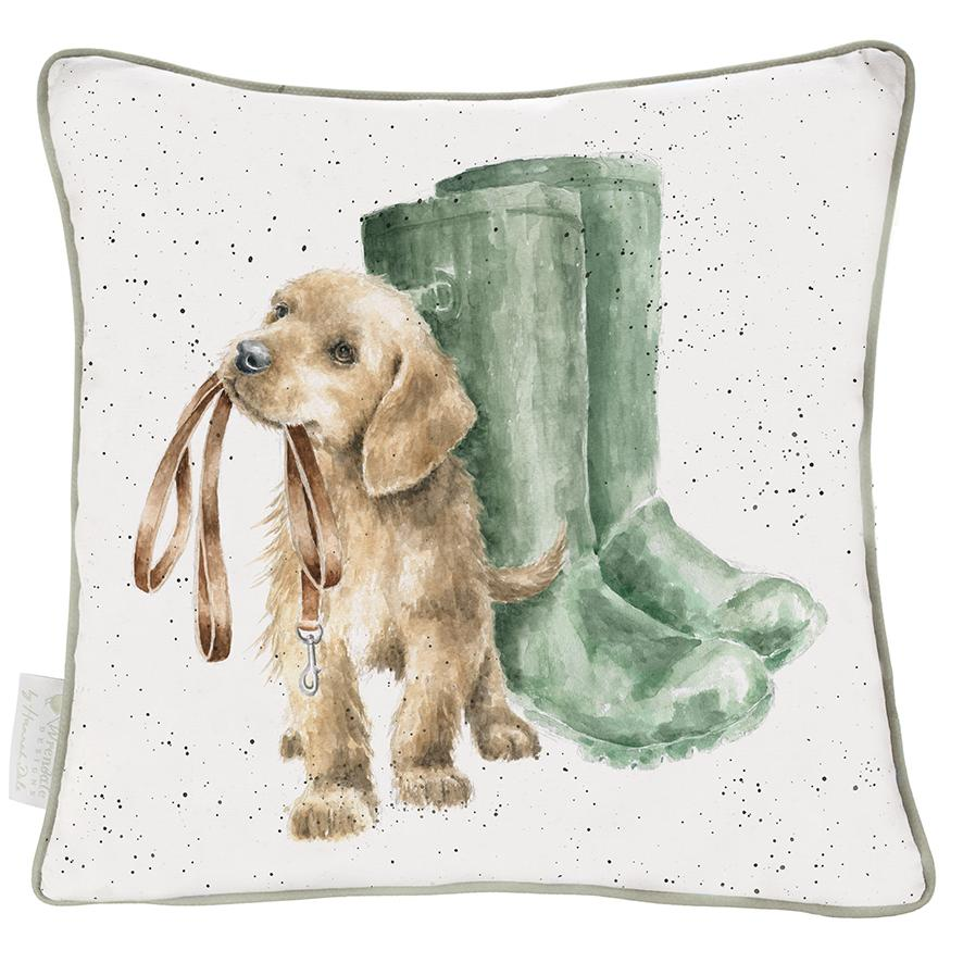 Wrendale Kissen inkl. Füllung, Motiv Hund mit Leine im Maul,  60x60 cm