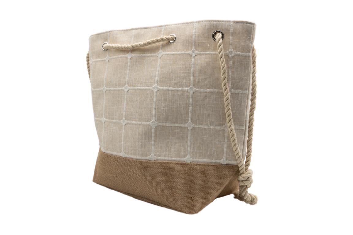 Strandtasche/Shopper, aus Stoff, Kordel Tragegriff, natur, ca. 55x38x15cm