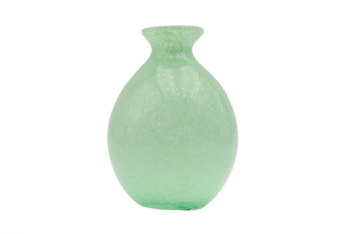 Colmore Vase aus Glas, bauchig, pastell grün, 11x11x14cm
