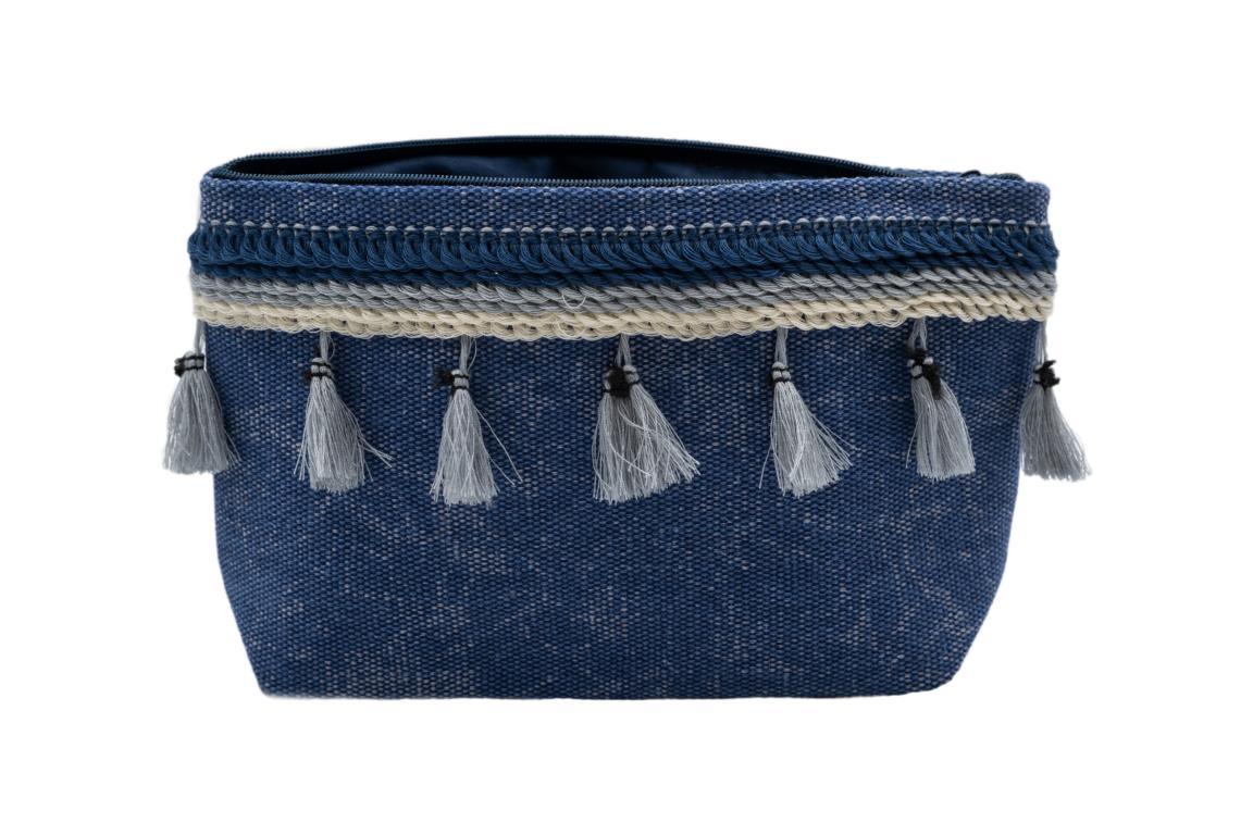 Kleine Kosmetiktasche, blau mit Troddeln und Reißverschluss