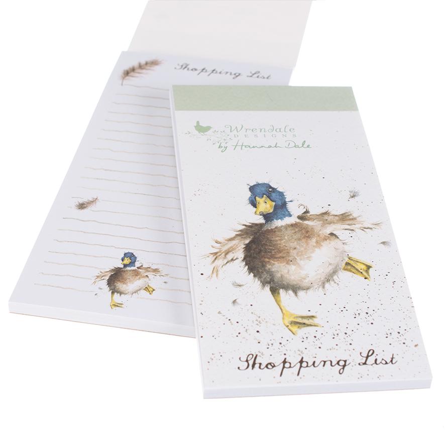Wrendale Einkaufsblock mit Magnetstreifen, Motiv Ente rennt, 21x10 cm