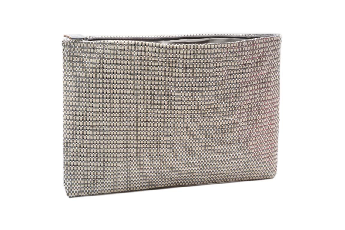 Kosmetiktasche, Weboptik, Grau mit Silber, Reißverschluss, 28x20 cm