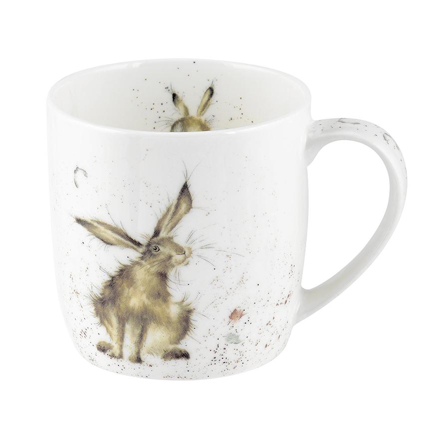 """Wrendale Becher,  """"Good Hare Day"""", Motiv Hase, Motive auf beiden Seiten, 0,31 L, mit Geschenkbox"""