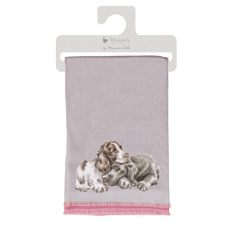 """Wrendale Winterschal, grau, Motiv zwei Hunde """"A dog´s Life"""" , inkl Geschenktüte 190x70 cm"""