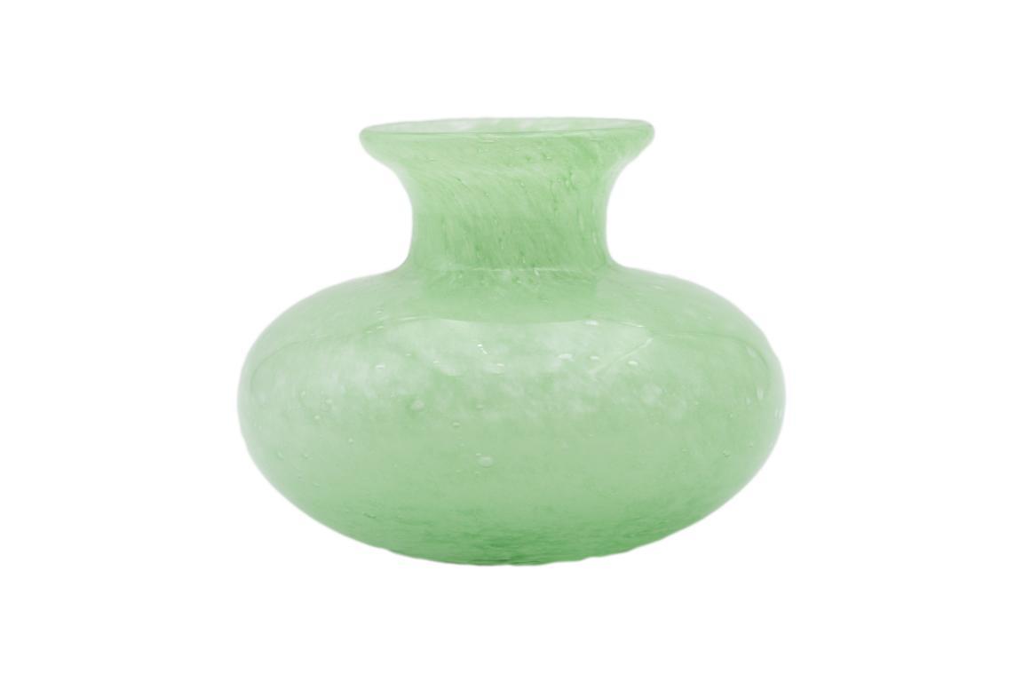 Colmore Vase aus Glas, klein, bauchig, flach, pastell grün, 10x10x7cm