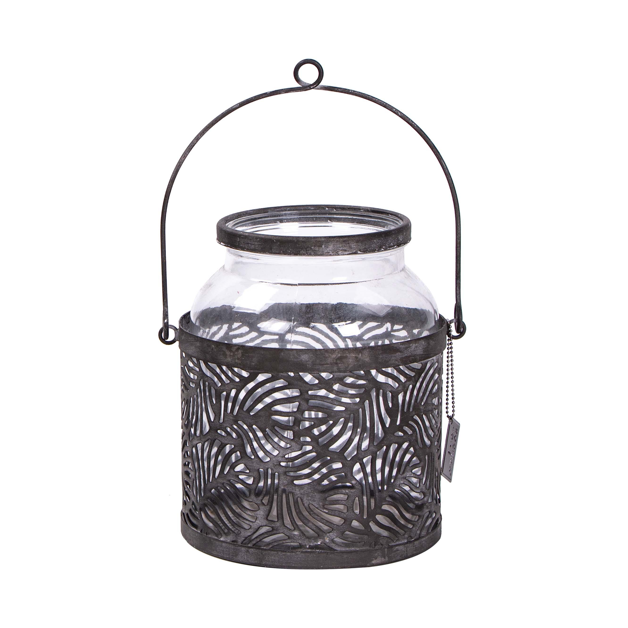 Windlicht zum hängen, Glas in schwarzer Metallhalterung, H 22 cm, D 17 cm