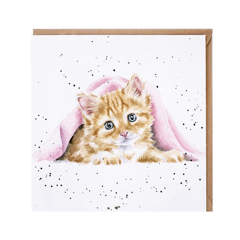 """Wrendale Doppelkarte mit Umschlag, Motiv Katze unter der Decke """"Duvet Day"""", 15x15cm"""