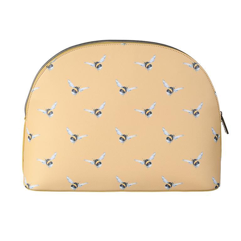 """Wrendale Kosmetiktasche groß, Motiv Hummel """" Busy Bee"""", mit Reißverschluss, sonnengelb,  24,5x33cm"""