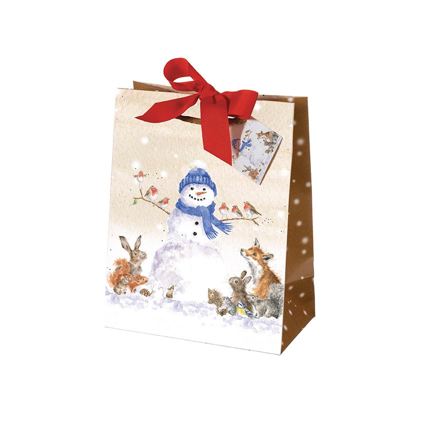 Wrendale Geschenktüte Weihnachten groß, Motiv Schneemann und Waldtiere, zum zu binden, H 30 cm