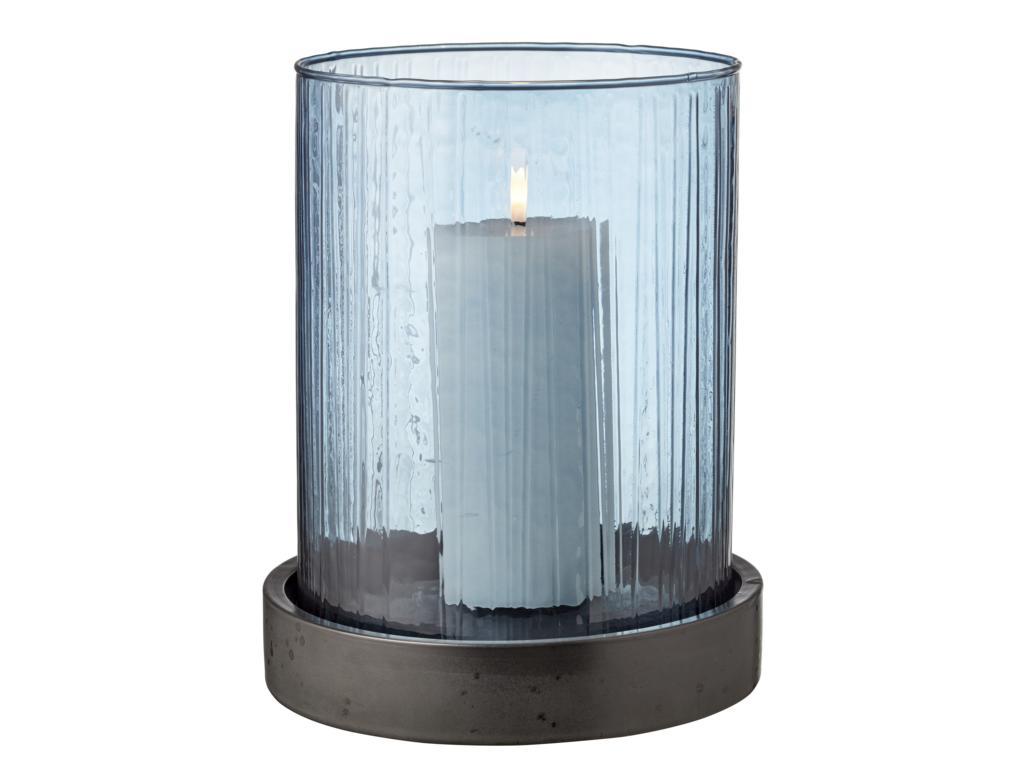 Bitz Windlichtglas, groß, Glas, blau, Teller aus Porzellan in anthrazit, inklusive LED Kerze mit  6 Stunden Timer, 25x20cm