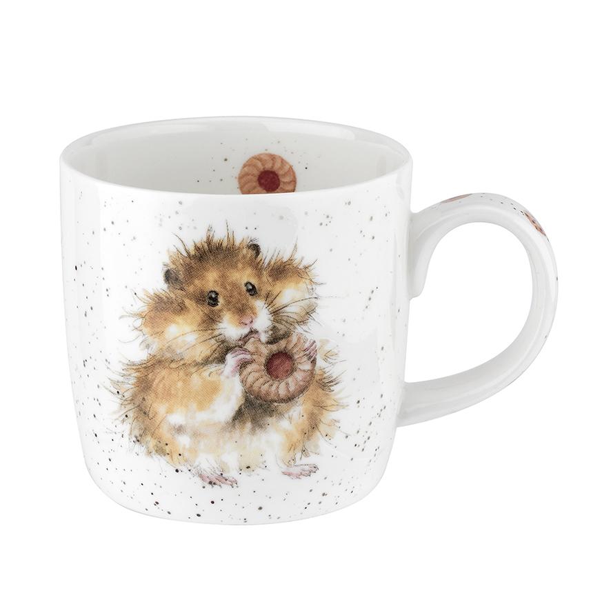 "Wrendale Becher,  ""Diet starts tomorrow"", Motiv vorne Hamster mit Keks,Motiv hinten Hamster, 0,31 L mit Geschenkverpackung"