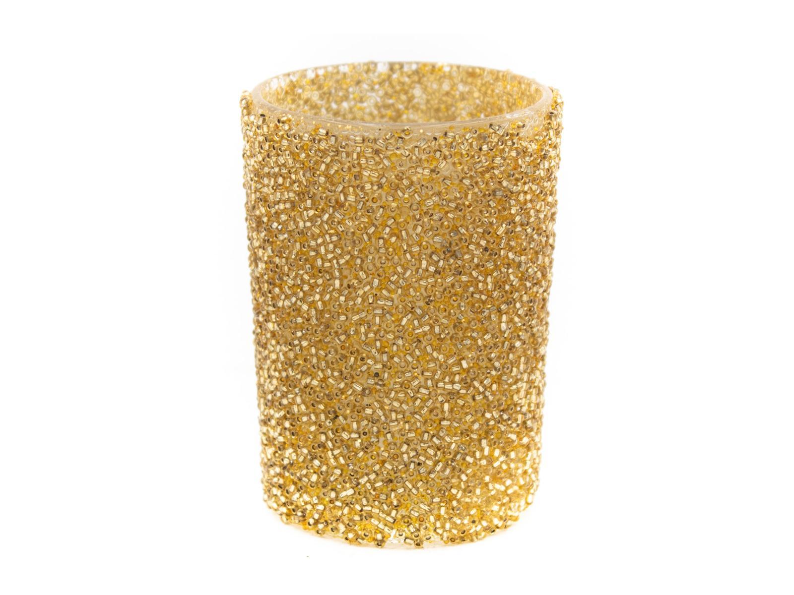 Glas für Teelicht, gold, Glitter, 6 x 8,5 cm