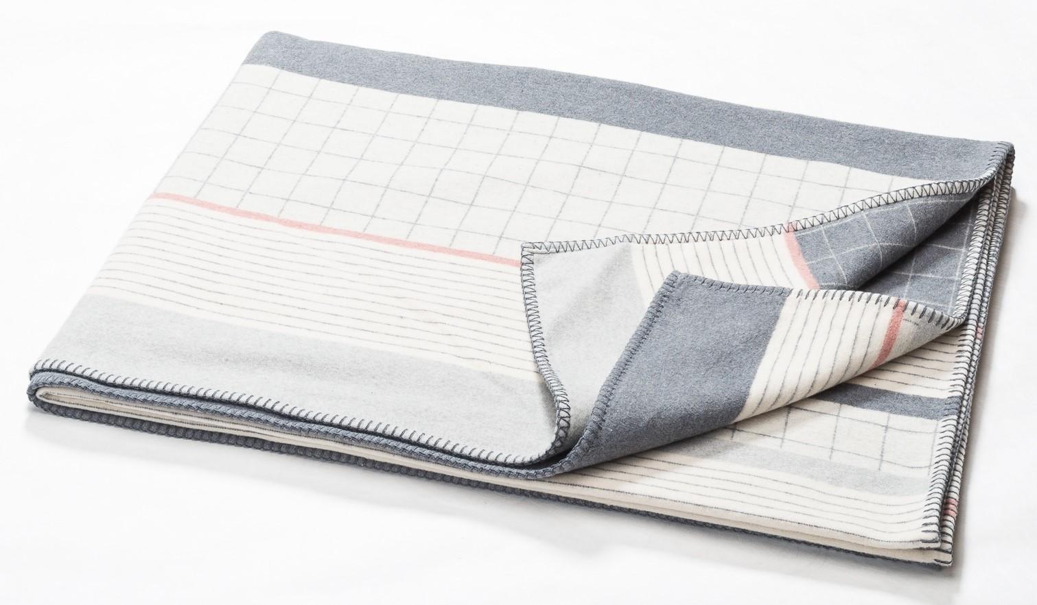 DAVID FUSSENEGGER Decke Sylt mit Zierstich Karo-Streifen Mix filz 140x200 cm