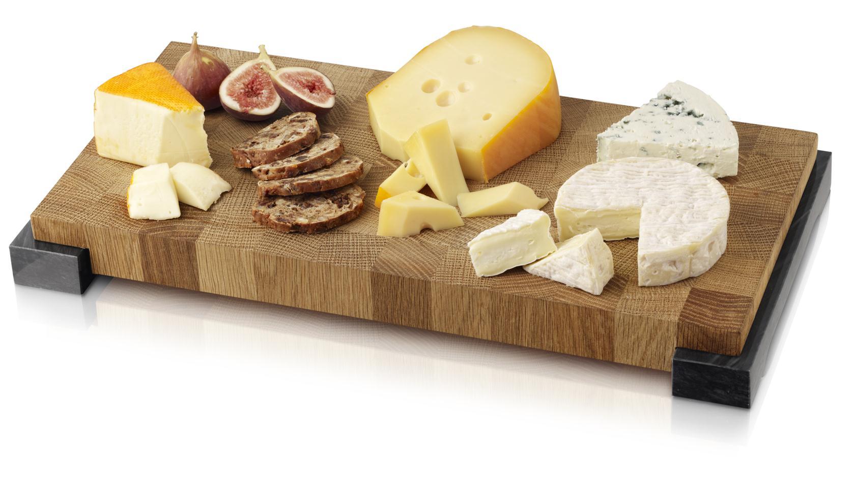 BOSKA, Käse- und Brotbrett auf Füßen, Eichenholz/ Marmor
