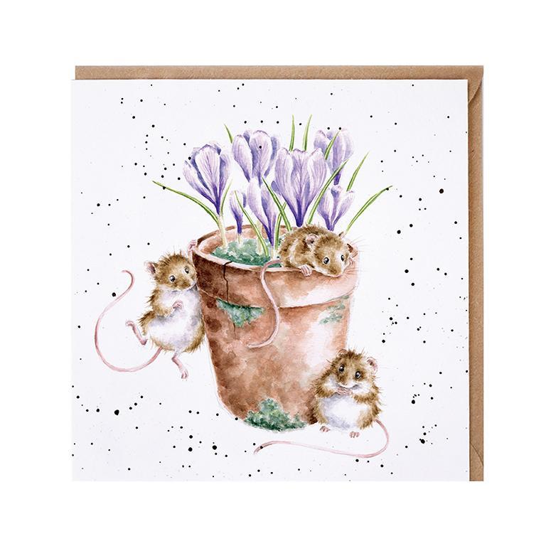 """Wrendale Doppelkarte mit Umschlag, Motiv zwei Mäuse in Blumentopf , """"Garden Friends"""", 15x15cm"""