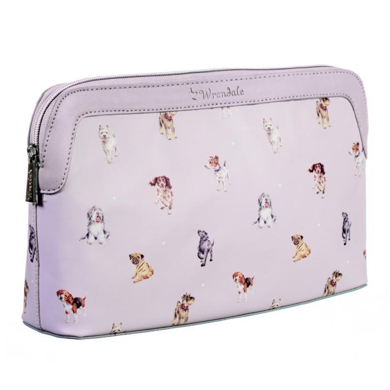 Wrendale Kulturtasche mit Reißverschluss, Motiv Hunde, grau, 32x21x8 cm