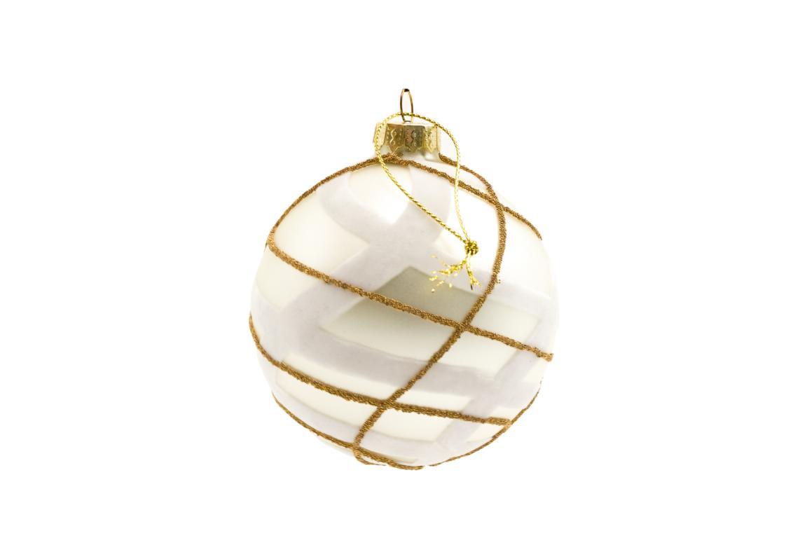 Colmore Christbaumkugel, Glas, silber, weißer Samt und goldene Linien, D 10cm